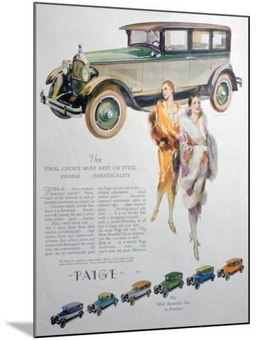 Advert for Paige Motor Cars, 1927--Mounted Giclee Print