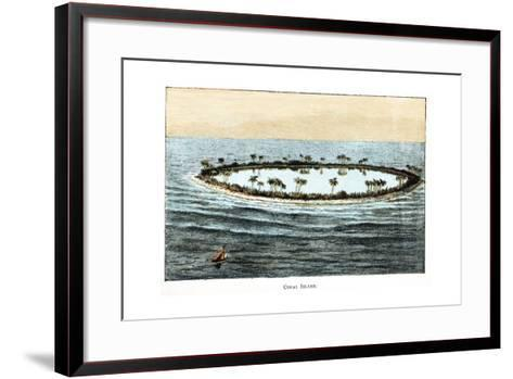 Coral Reef Surrounding a Lagoon--Framed Art Print