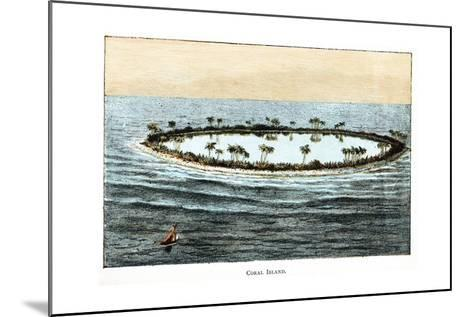 Coral Reef Surrounding a Lagoon--Mounted Giclee Print