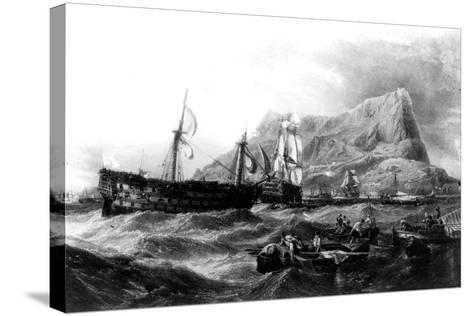HMS Victory Towed Back to Gibraltar, 1805, 19th Century--Stretched Canvas Print