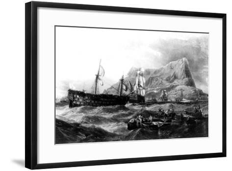 HMS Victory Towed Back to Gibraltar, 1805, 19th Century--Framed Art Print