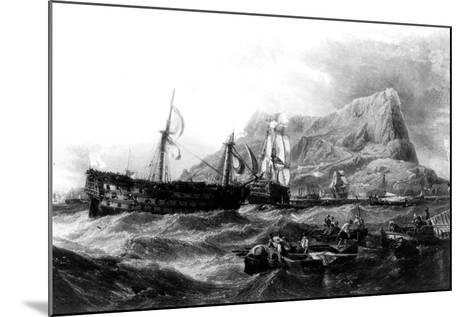 HMS Victory Towed Back to Gibraltar, 1805, 19th Century--Mounted Giclee Print