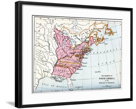 The Colonies of North America at the Declaration of Independence, 1776--Framed Art Print
