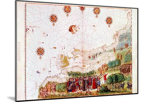 Map of the East Coast of North America, Early 16th Century--Mounted Giclee Print