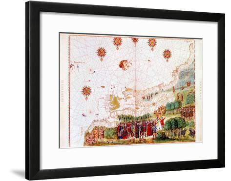 Map of the East Coast of North America, Early 16th Century--Framed Art Print