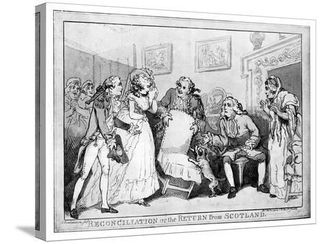 Reconciliation or the Return from Scotland, Late 18th Century-Thomas Rowlandson-Stretched Canvas Print