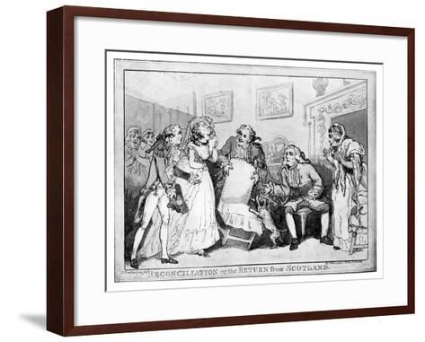 Reconciliation or the Return from Scotland, Late 18th Century-Thomas Rowlandson-Framed Art Print