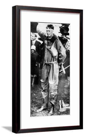 Charles Lindburgh, Record Breaking Aviator, 1927--Framed Art Print