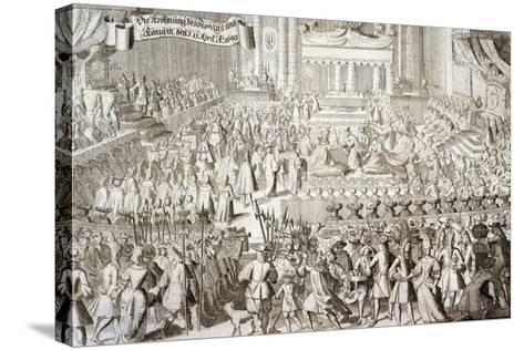 Coronation of William III and Mary II in Westminster Abbey, London, 1689--Stretched Canvas Print