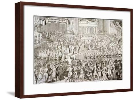 Coronation of William III and Mary II in Westminster Abbey, London, 1689--Framed Art Print