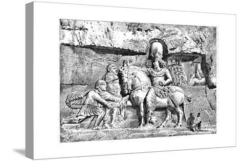 Valerian at the Feet of Sapor, Royal Tombs at Naksh-I-Rustem, Persepolis, Iran, 1895--Stretched Canvas Print