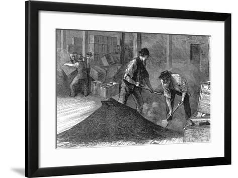 Bulking Tea in the Warehouses of the East and West India Dock Company, London, 1874--Framed Art Print