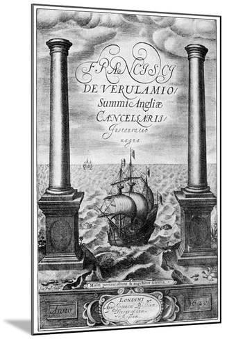 Title Page of Francis Bacon's Instauratio Magna, 1620--Mounted Giclee Print