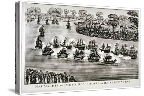 Naumachia, or (Mock Sea-Figh) on the Serpentine, Hyde Park, London, 1814--Stretched Canvas Print