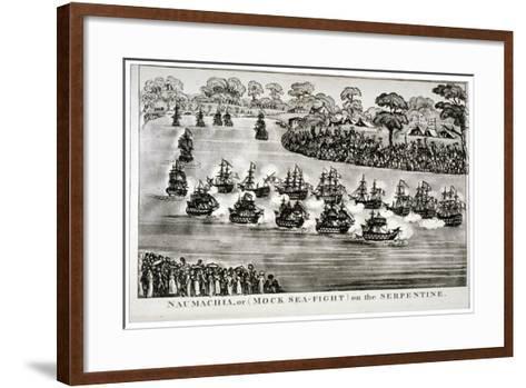 Naumachia, or (Mock Sea-Figh) on the Serpentine, Hyde Park, London, 1814--Framed Art Print