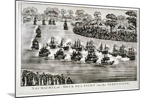 Naumachia, or (Mock Sea-Figh) on the Serpentine, Hyde Park, London, 1814--Mounted Giclee Print