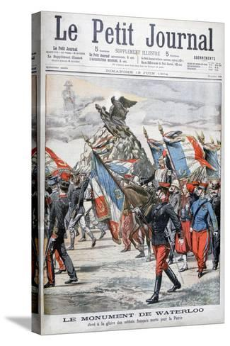 French Troops Parading Past the Monument to the Battle of Waterloo, 1904--Stretched Canvas Print