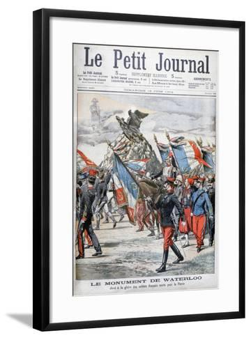 French Troops Parading Past the Monument to the Battle of Waterloo, 1904--Framed Art Print