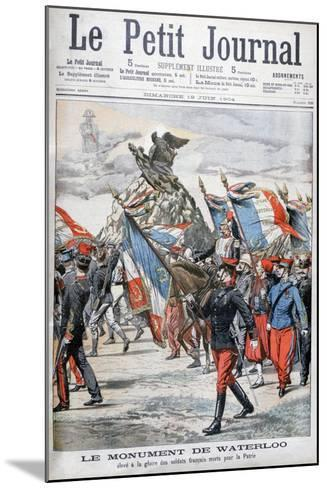 French Troops Parading Past the Monument to the Battle of Waterloo, 1904--Mounted Giclee Print