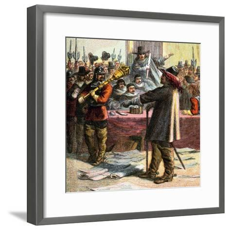 Cromwell Turns Out Parliament, 17th Century--Framed Art Print