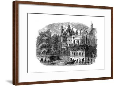 River Front of the Old House of Peers (House of Lord), London, 19th Century--Framed Art Print