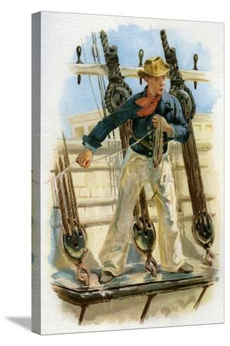 Heaving the Lead, 18th Century (C1890-C189)--Stretched Canvas Print