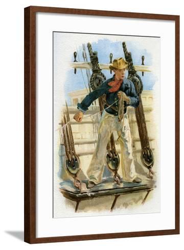 Heaving the Lead, 18th Century (C1890-C189)--Framed Art Print