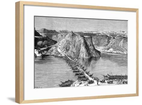 Bridge of Boats over the Indus at Khushalgarh, Pakistan, 1895--Framed Art Print