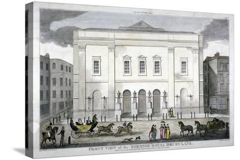 Front View of the Theatre Royal, Drury Lane, Westminster, London, 1812--Stretched Canvas Print