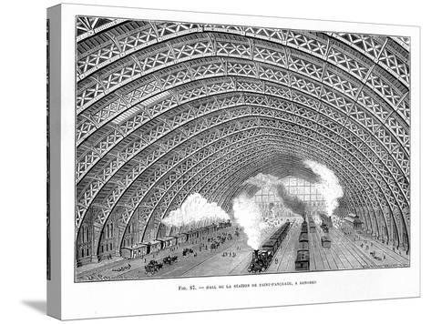 Interior of St Pancras Railway Station, London, 1865--Stretched Canvas Print