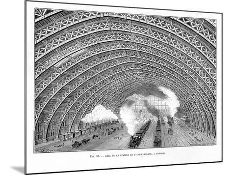 Interior of St Pancras Railway Station, London, 1865--Mounted Giclee Print
