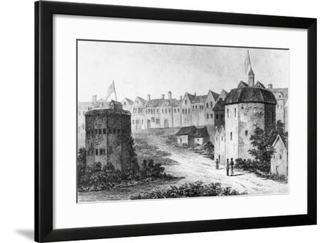 Globe Theatre, Bankside, Southwark and the Bear Garden, C1597--Framed Art Print