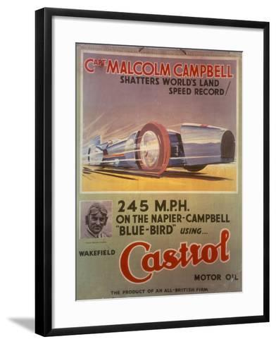 Poster Advertising Castrol Oil, Featuring Bluebird and Malcolm Campbell, Early 1930s--Framed Art Print