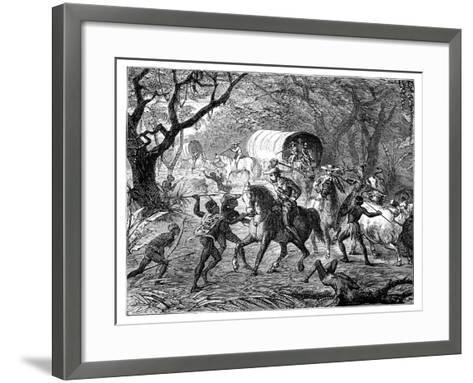 The Caffre War: Natives Attacking a Convoy, 19th Century--Framed Art Print