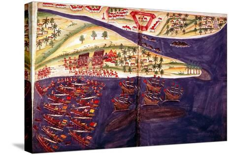 Battle Between Muslims and Portuguese at Surat, Gujarat Near Bombay, India, C16th Century--Stretched Canvas Print