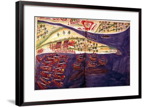 Battle Between Muslims and Portuguese at Surat, Gujarat Near Bombay, India, C16th Century--Framed Art Print
