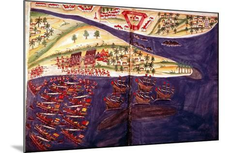 Battle Between Muslims and Portuguese at Surat, Gujarat Near Bombay, India, C16th Century--Mounted Giclee Print