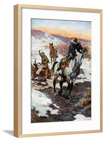 Winter Work for the Cowboys, 1906 (1908-190)--Framed Art Print