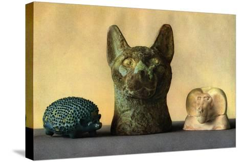 Animal Carvings from the New Kingdom and Late Period, Egypt, 1936--Stretched Canvas Print