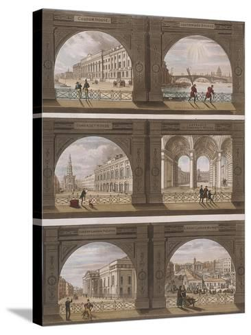 Six Views of London Sites Seen Through an Arch, C1820--Stretched Canvas Print