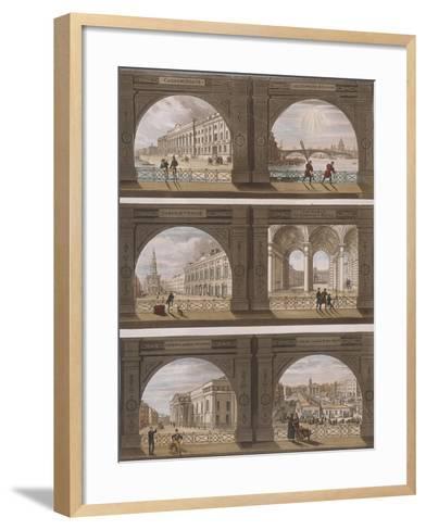 Six Views of London Sites Seen Through an Arch, C1820--Framed Art Print