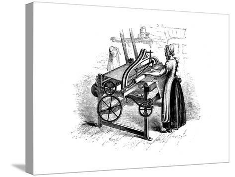 Woman Operating a Power Loom for Weaving Cotton, C1840--Stretched Canvas Print