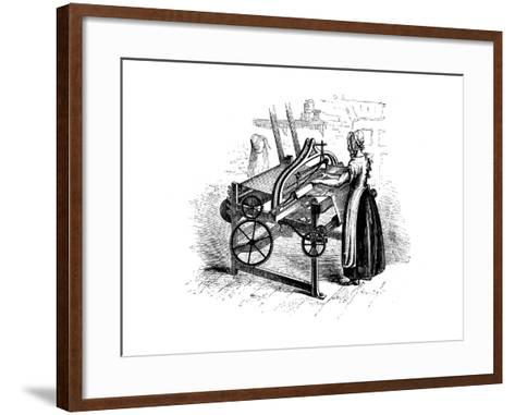 Woman Operating a Power Loom for Weaving Cotton, C1840--Framed Art Print