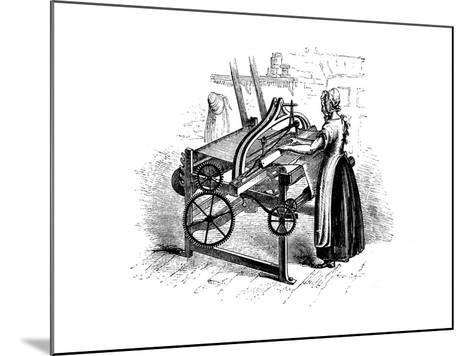 Woman Operating a Power Loom for Weaving Cotton, C1840--Mounted Giclee Print