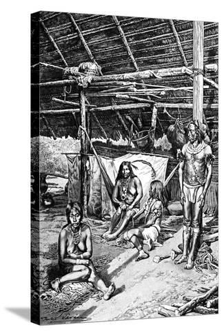 Inside a Ticuna Hut, South Ameriica, 1895--Stretched Canvas Print