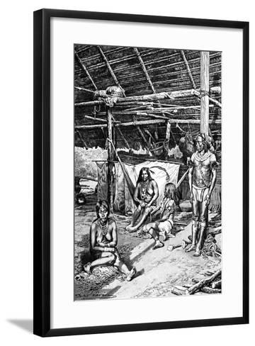 Inside a Ticuna Hut, South Ameriica, 1895--Framed Art Print