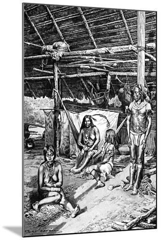 Inside a Ticuna Hut, South Ameriica, 1895--Mounted Giclee Print