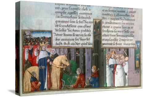 St Louis Returns to Paris, and St Louis Among the Priests, Mid-13th Century--Stretched Canvas Print