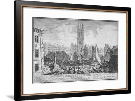 Ruins of Houses Burnt Down in a Fire in Cornhill, City of London, March 25, 1748--Framed Art Print