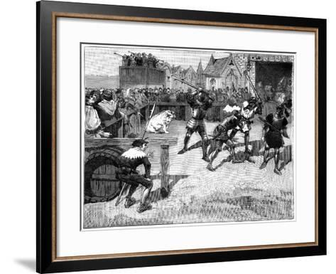 Four Blind Men Placed in a Ring to Fight a Large Pig, C14th-15th Century (1882-188)-Spex-Framed Art Print